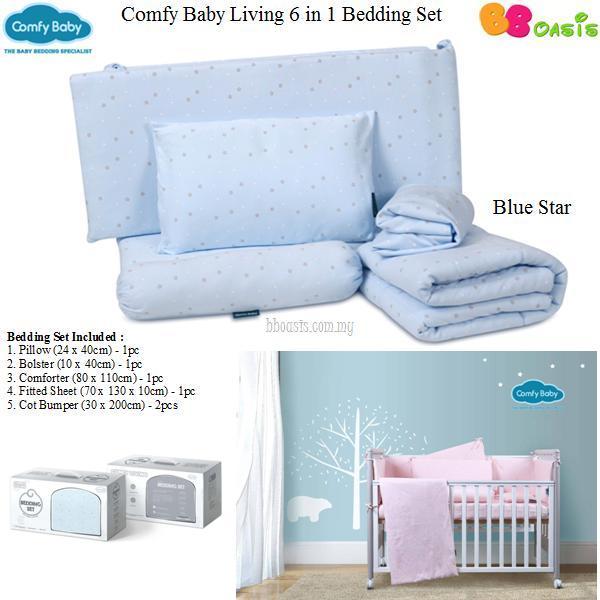 Comfy Baby Living 6 in 1 Bedding Set -Blue Star 1
