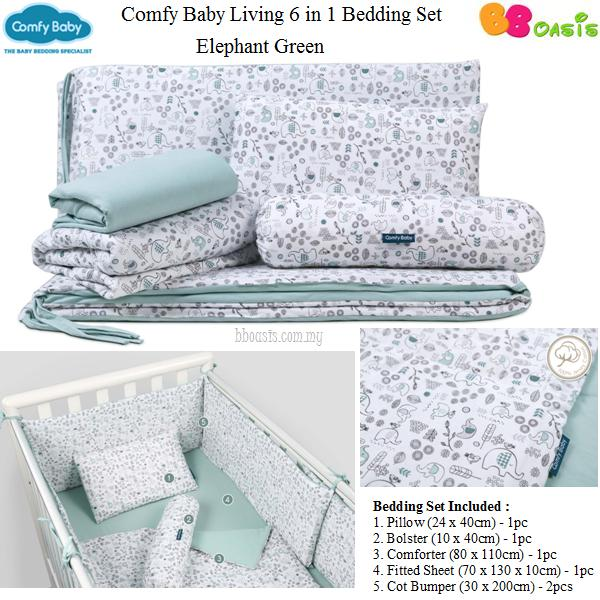 Comfy Baby Living 6 in 1 Bedding Set -Elephant Green
