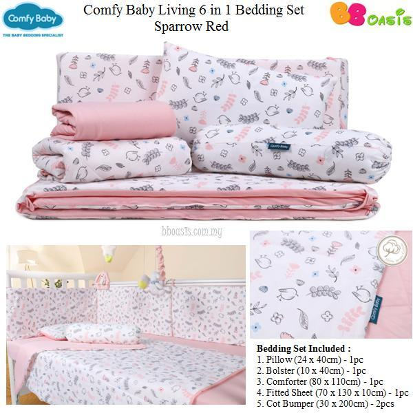 Comfy Baby Living 6 in 1 Bedding Set -Sparrow Pink